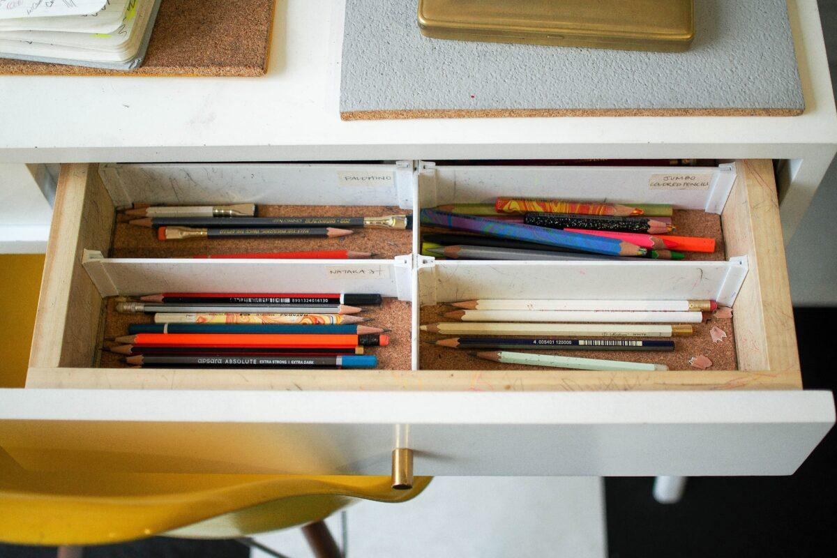 Schublade mit Stiften
